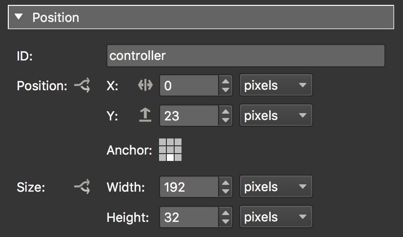 Position Settings for Container in Skin Editor