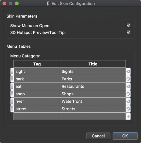 Tag table in Edit Skin Configurations