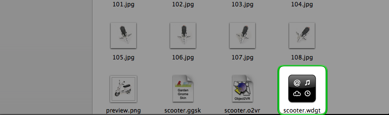 The widget icon in the output folder.